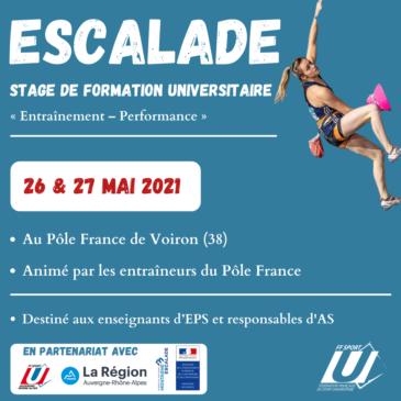 STAGE NATIONAL DE FORMATION ESCALADE les 26 et 27 mai 2021 – Pôle FRANCE – VOIRON
